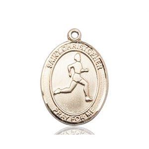 Christopher Track & Field Medal Medium - 14 Karat Gold (#85972)