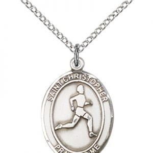 Christopher Track Field Medal Medium Sterling Silver 85973