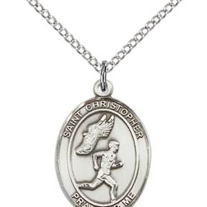 Christopher Track & Field Medal Medium - Sterling Silver (#86185)