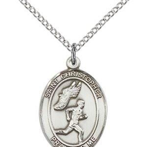 Christopher Track & Field Medal Medium - Sterling Silver (#86185)