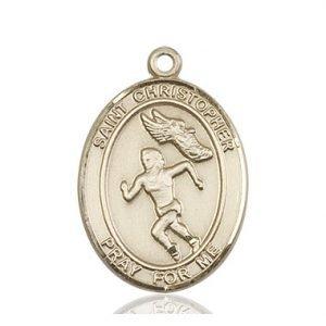 Christopher Track & Field Medal Women Large - 14 Karat Gold (#85880)
