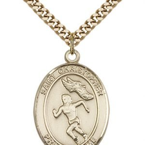 Christopher Track & Field Medal Women Large - 14 Karat Gold Filled (#85878)