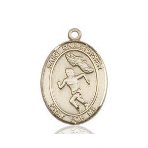 Christopher Track & Field Medal Women Medium - 14 Karat Gold (#86188)
