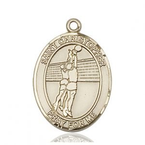 Christopher Volleyball Medal Large 14 Karat Gold 85678