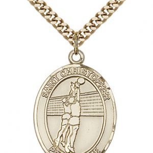 Christopher Volleyball Medal Large - 14 Karat Gold Filled (#85676)