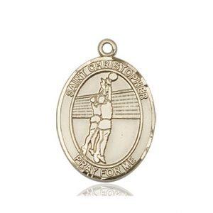 Christopher Volleyball Medal Medium 14 Karat Gold 85944