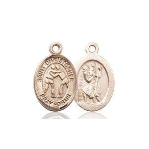Christopher Wrestling Medal Charm - 14 Karat Gold (#86360)