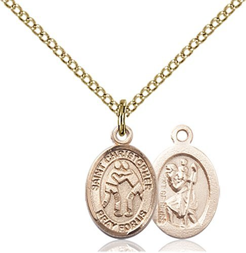 Christopher Wrestling Medal Charm 14 Karat Gold Filled 86358