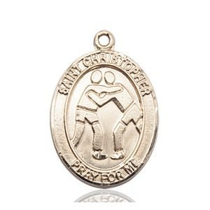 Christopher Wrestling Medal Large 14 Karat Gold 85726