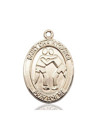 Christopher Wrestling Medal Large 14 Karat Gold 85726