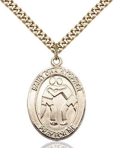 Christopher Wrestling Medal Large 14 Karat Gold Filled 85724