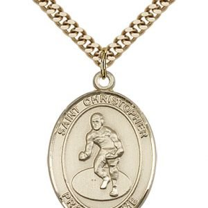 Christopher Wrestling Medal Large 14 Karat Gold Filled 85870