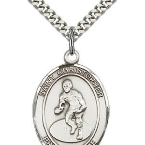 Christopher Wrestling Medal Large Sterling Silver 85873