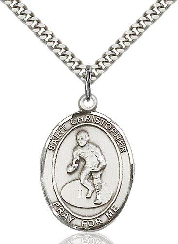 Christopher Wrestling Medal Large Sterling Silver 85873