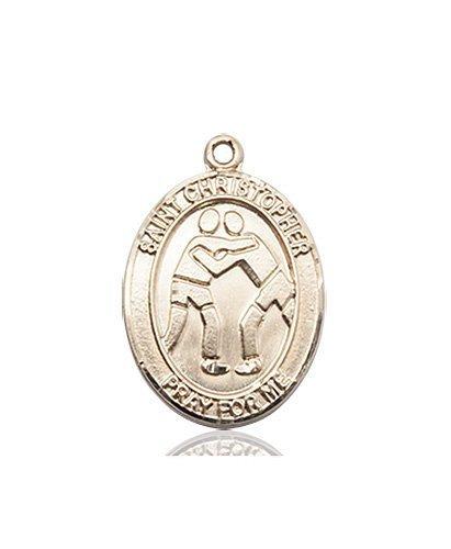 Christopher Wrestling Medal Medium - 14 Karat Gold (#86008)
