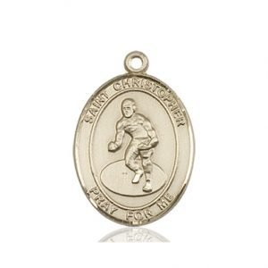 Christopher Wrestling Medal Medium 14 Karat Gold 86180
