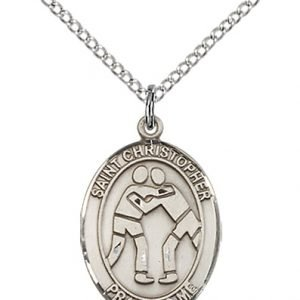 Christopher Wrestling Medal Medium Sterling Silver 86009