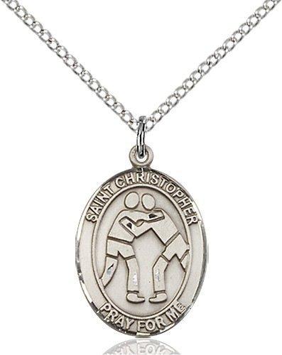 Christopher Wrestling Medal Medium Sterling Silver 86009