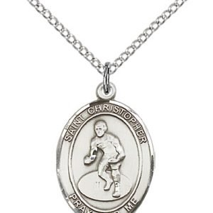 Christopher Wrestling Medal Medium - Sterling Silver (#86181)