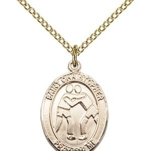 Christopher Wrestling Medal Two Figure Design 14 Karat Gold Filled 86006
