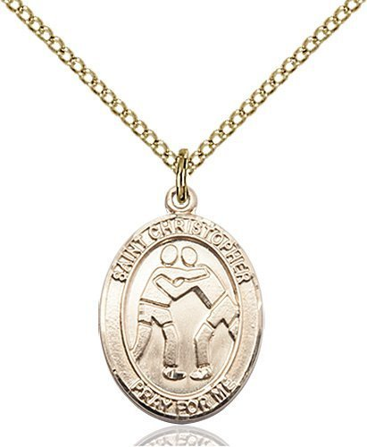 Christopher Wrestling Medal Two Figure Design 14 Karat Gold Filled 86006