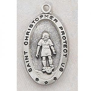Girl Soccer Medal In Sterling Silver 15159