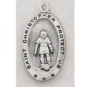 Girl Soccer Medal In Sterling Silver 15159