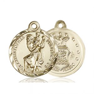 St Christopher Air Force Pendant 14 Kt Gold 89678