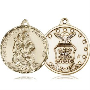 St Christopher Air Force Pendant 14 Kt Gold 89734