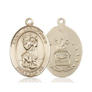 St Christopher Air Force Pendant 14 Kt Gold 90155