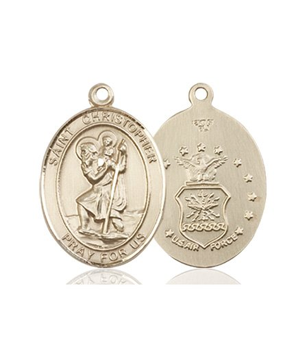 St Christopher Air Force Pendant 14 Kt Gold 90263