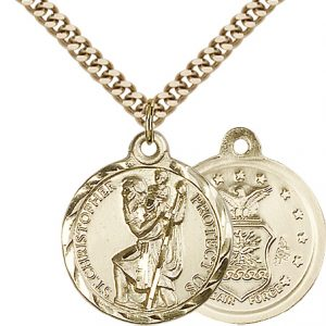 St Christopher Air Force Pendant Gold Filled 89671