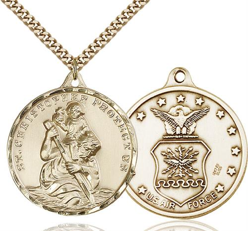 St Christopher Air Force Pendant Gold Filled 89728