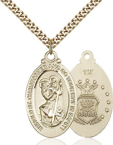 St Christopher Air Force Pendant Gold Filled 90046