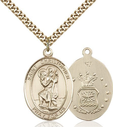 St Christopher Air Force Pendant Gold Filled 90148