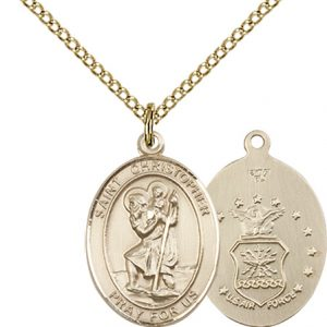 St Christopher Air Force Pendant Gold Filled 90256