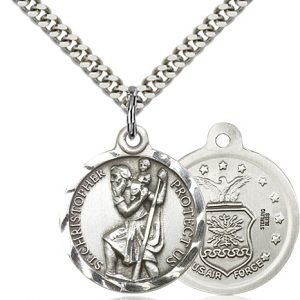 St Christopher Air Force Pendant Sterling Silver 89685