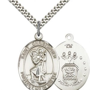 St Christopher Air Force Pendant Sterling Silver 89922