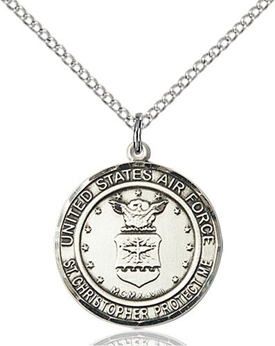 St Christopher Air Force Pendant Sterling Silver 89974