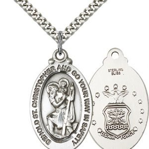 St Christopher Air Force Pendant Sterling Silver 90076