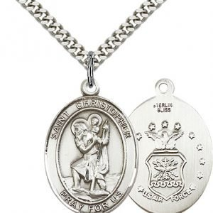 St Christopher Air Force Pendant Sterling Silver 90162