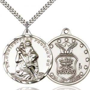 St Christopher Air Force Pendant Xl Sterling Silver 89740