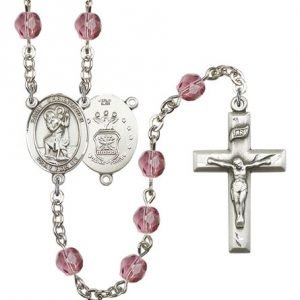 St Christopher Air Force Rosary Amethyst Beads R15439