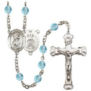 St Christopher Air Force Rosary Aqua Beads R15452