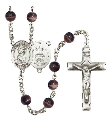 St Christopher Air Force Rosary Brown Beads R15465