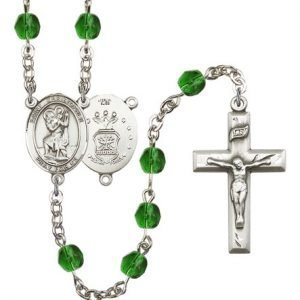 St Christopher Air Force Rosary Emerald Beads R15442