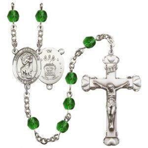 St Christopher Air Force Rosary Emerald Beads R15454