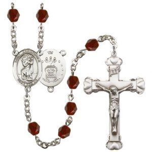 St Christopher-Air Force Rosary - Garnet Beads (#R15455)