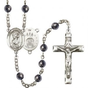 St Christopher Air Force Rosary Hematite Beads R15463