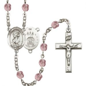 St Christopher Air Force Rosary Light Amethyst Beads R15444
